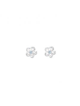Aagaard - Sølv øreringe med blomst og lyseblå perle