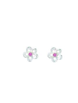 Aagaard - Sølv øreringe med hjerte og syntetisk pink zirkon