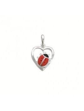 Aagaard - Sølv charms hjerte med mariehøne